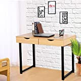 Tangkula Computer Desk Modern Compact Home Office Furniture PC Laptop Workstation Study Writing Table with 2 Storage Drawers