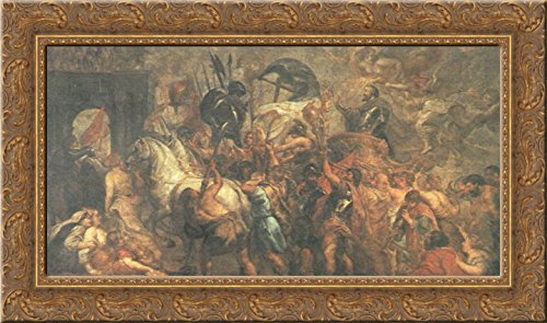 Triumphal Entry - Triumphal Entry of Henry IV into Paris 24x16 Gold Ornate Wood Framed Canvas Art by Peter Paul Rubens