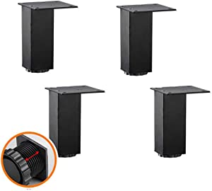 MWPO Furniture Legs Adjustable,MetalTable Legs,Aluminum Alloy,Cabinet Sofa Table Kitchen Support Foot,Including Screws(Set of 4) (5cm,Black)
