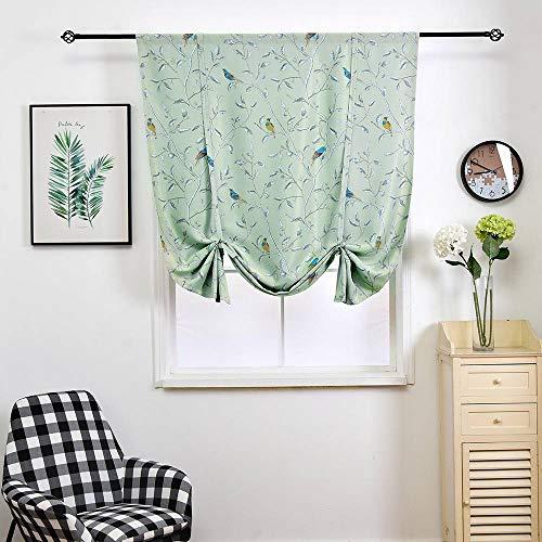 (WUBODTI Thermal Insulated Blackout Curtain Panel Room Darkening Window Drapes Balloon Valance Small Window Curtain,Bird Pattern Window Treatments,32x55 Inch,Multi Color)