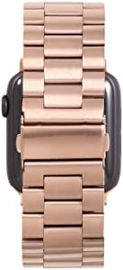 Miniseas Band Compatible with Apple Watch Band 38mm 42mm Stainless Steel Wristband Metal Buckle Clasp Strap Replacement Bracelet for iWatch Series 5/4/3/2/1 40mm 44mm (Rose Gold, 42MM-44MM)