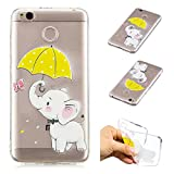 Creative Case for Xiaomi Redmi 4X,Transparent Soft Clear TPU Cover for Xiaomi Redmi 4X,Leecase Umbrella Elephant Cute Pattern Flexible Protective Case Cover for Xiaomi Redmi 4X