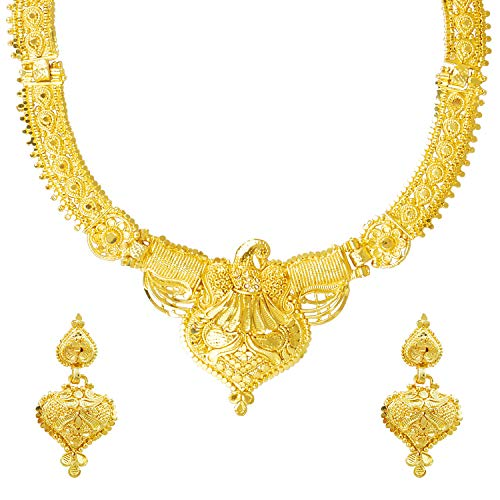 bodha 22K Gold Plated Traditional Indian Bollywood Necklace Jewellery Set for Women (SJ_2647) ()