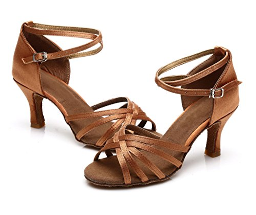 Latin Shoes Salsa 213 Dance Brown Women's Style JINFENGKAI Zx65qwOg6