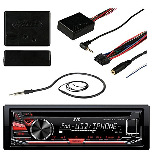JVC KD-R670 Car CD USB Stereo Multimedia Receiver Bundle Combo With Metra ASWC-1 Universal Steering Wheel Controller Module, Enrock 22