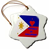 3dRose orn_55214_1 I Love The Phillipines-Snowflake Ornament, 3-Inch, Porcelain