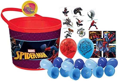 Marvel Spider Man Toddler Sized Easter Egg Loot Bucket & 12 Blue Toy Filled Easter Eggs (Stickers, Balloons & Kids Tattoos). Plus Egg Hunting Easter Button!
