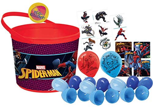 Marvel Spider Man Toddler Sized Easter Egg Loot Bucket & 12 Blue Toy Filled Easter Eggs (Stickers, Balloons & Kids Tattoos). Plus Egg Hunting Easter - Halloween Spiderman Bucket