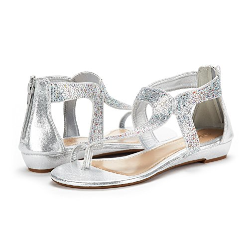 02 silver Wedge Rhinestones Ankle DREAM Weitz PAIRS Women's Low Sandals Strap zCwqTaF