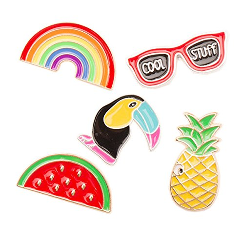 Hawaii Luau Party Brooch Pins Alloy Breastpin Jewelry Gift For friends Dress Decoration Luau party favors,Tinksky 5pcs - Rainbow Glasses Bird Watermelon ()