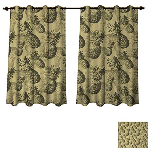 Anzhouqux Pineapple Blackout Thermal Backed Curtains for Living Room Botanical Grunge Pattern with Tropical Island Fruits Vintage Effect Window Curtain Fabric Pale Brown Dark Green W55 x L39 inch
