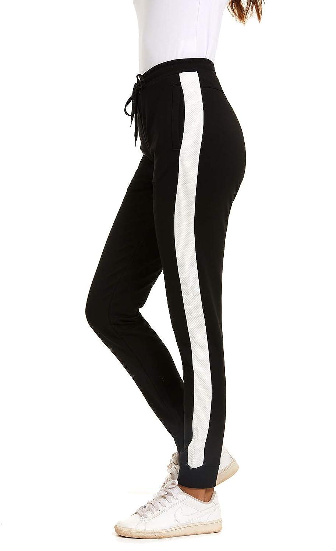 NEYOUQE Women's High Waisted Long Cotton Workout Joggers Sweatpants Zip Pocket