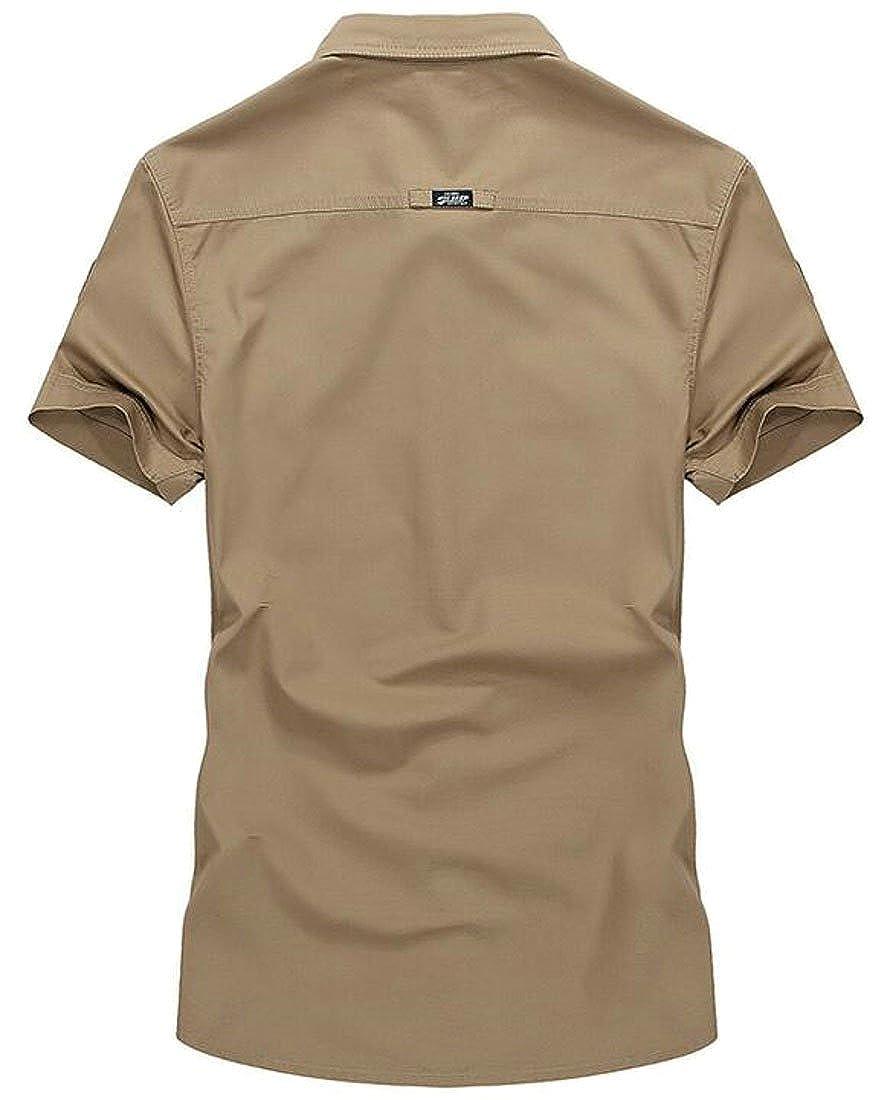 XiaoTianXin-men clothes XTX Mens Casual Cotton Letter Printed Plus Size Short Sleeve Button Down Shirt Top Tees