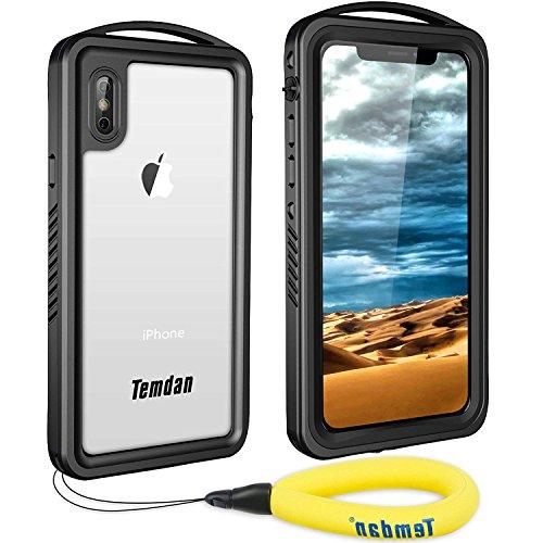iPhone X Waterproof Case, iPhone Xs Waterproof Case, Temdan Supreme Series Shockproof Waterproof Rugged Case with Caranbiner Built in Screen Protector Waterproof Case for iPhone X/XS(Black)