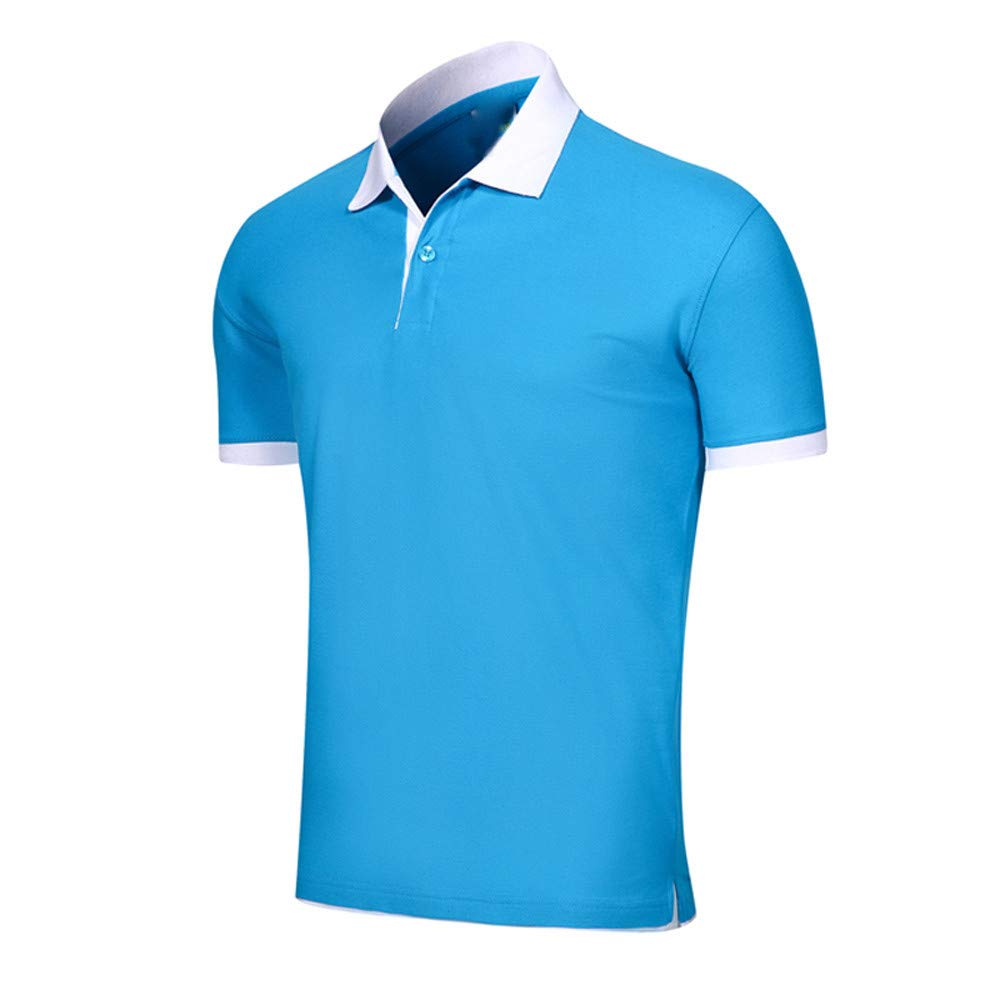 Qinnyo Mens T Shirt for Men Tops Solid Color Pullover Short Sleeve Poloshirt Comfy Solid Slim Button Blouse Sweatshirt