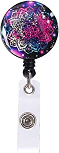 Badge Reel, Retractable ID Card Badge Holder with Alligator Clip, Name Decorative Badge Reel Clip on Card Holders for Girls & Nurse & Students & Teachers & Office Lady, Long 24 inch, Purple Mandala