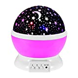 Cheap Baby Night Light Moon Star Projector 360 Degree Rotation 4 LED Bulbs 9 Light Colors Changing Lighting Lamp Projection Romantic Rotating Cosmos with 59 inches USB Charging Cable for Kids Bedroom