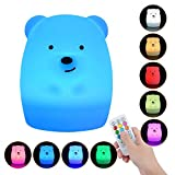 AIRSOFTPEAK Baby Night Light, 9 Colors 4 Modes Remote Control & Tap Control Soft Silicone Rechargeable Colorful Night Lamp for Girl Lady Kid Baby Bedroom Nursery and Gifts, Bear