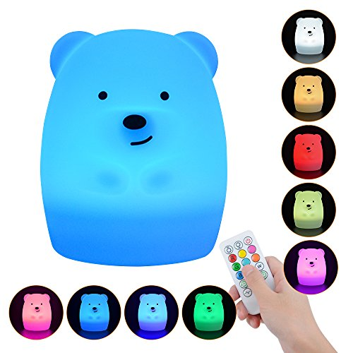 Baby Night Light, 9 Colors 4 Modes Remote Control & Tap Control Soft Silicone Rechargeable Colorful Night Lamp for Girl Lady Kid Baby Bedroom Nursery and Gifts, Bear