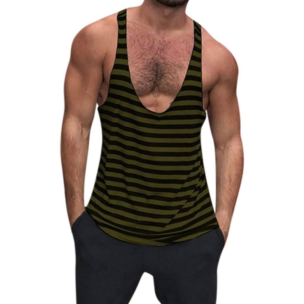 Tanks Tops Deep-V Striped Vest Summer Casual Sleeveless Bodybuilding Tee Shirt for Men (L3, Green)