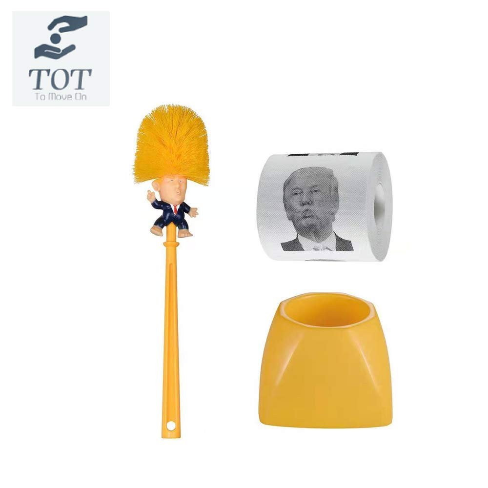 Donald Trump Toilet Brush Toilet Paper Bundle Funny Political Gag Novelty Item(Holder Included) (Yellow) by TOT