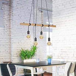 Briloner Leuchten Lampadario a Sospensione da soffitto a 4 luci Pendenti – Design rétro/Vintage in Legno e Metallo… 513YTKGKYQL. SS300