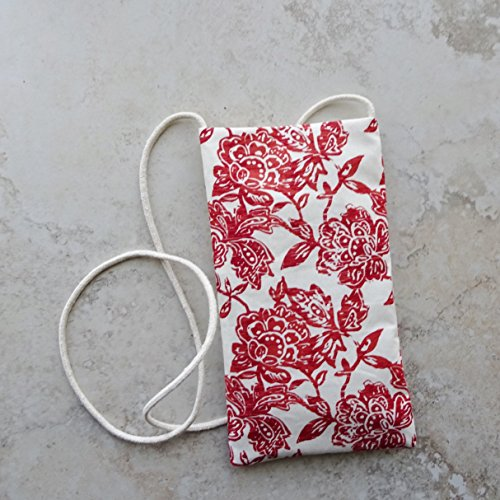 - Phone Purse, Essentials Necklace Bag, Rust Red Floral Fabric Purse