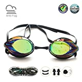 Swim Goggles, Swimming Goggles No Leaking Anti Fog UV Protection Shatterproof Professional Comfortable Adjustable Triathlon Mirrored Swim Glasses Competitive Lap Swim Goggles for Men Kids Women Adult