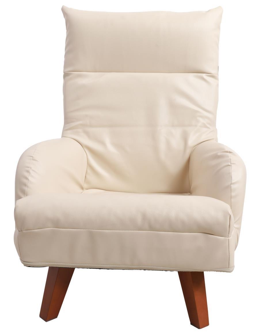 発売記念!UNE BONNE(ウネボネ) ソファ 座椅子 1人掛 チェア 背もたれ7段階ヘッドレスト14段階リクライニング 北欧風 木製脚 脚部脱着可 脚のみ取付 アイボリー B07CH7YG4S (PVC)アイボリー (PVC)アイボリー