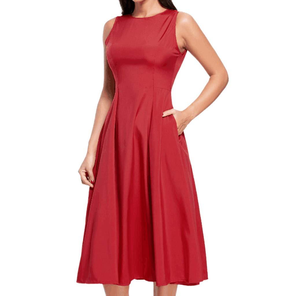 Hffan Damen Knielang A-Linie Kleid Kleider Sexy Freizeitkleid Partykleid Cocktailkleid Ärmellos Elegant Kleid Abendkleid Modisch Business
