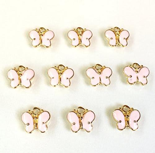 蝶々 パステルピンク 4個 ゴールドベースチャーム アクセサリーパーツ ハンドメイド 手芸材料