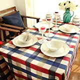 Cotton Linen Tablecloth Rectangular Plaid Grid Table Cover Protect for Dinning Kitchen Hotel Restaurant Table Cloth, Wedding Party Decoration
