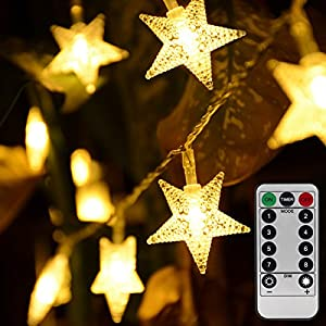 Homeleo Warm White 50 LED Star Fairy Lights w/Remote Control, Battery Powered Five-Pointed Star String Lights