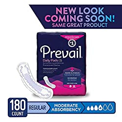 Prevail Moderate Absorbency Incontinence Bladder Control Pads Regular 20 Count (Pack of 9) Rapid Absorption Discreet Comfort Fit Overnight Incontinence Pads for Women