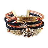 ANGELS and DEMONS Skull with Angel Wings Dream Vintage Leather Bohemia Bracelet