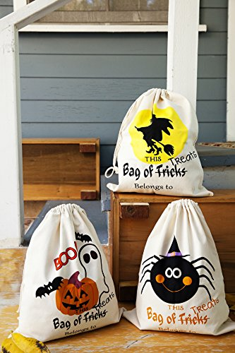 Halloween Bags for Trick or Treat 3 Pack - Halloween Tote Sacks 14 inches x 17 (Halloween Scary Tricks)