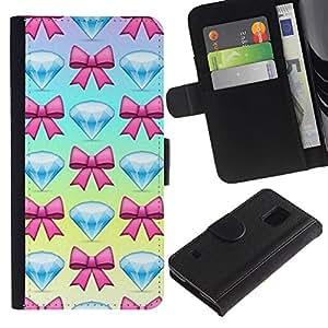 A-type (Diamond Jewel Gem Bowtie Pink Blue) Colorida Impresión Funda Cuero Monedero Caja Bolsa Cubierta Caja Piel Card Slots Para Samsung Galaxy S5 V SM-G900