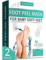 Foot Peel Mask - 2 Pack - For Cracked Heels, Dead Skin & Calluses - Make Your Feet Baby Soft & Get Smooth Silky Skin - Removes & Repairs Rough Heels, Dry Toe Skin - Exfoliating Peeling Natural Treatment - Cruelty Free & Vegan (Lavender Scented)