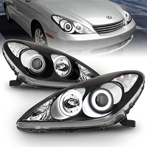 AmeriLite Black Projector Replacement Headlights Ultra Bright LED Halo for Lexus ES 300/330 - Passenger and Driver Side