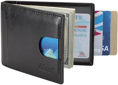 Kinzd Mens Front Pocket Wallet Bifold Leather Money Clip Wallet RFID Blocking