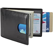 Kinzd Mens Front Pocket Wallet Bifold Leather Money Clip Card Holder RFID Blocking