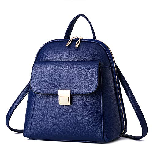 Mujer Para De Hombro Mini negro Escolar Damas Pu Blue Mochila Bolsas Viaje Bolso Pequeña Cuero 5qtPn4cOEF