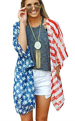 - Women's American Flag Print Puff Sleeve Kimono Cardigan Loose Cover Up Casual Blouse Tops(America Flag L)