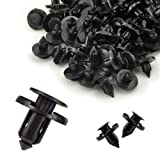 MUYI 50 Pcs Car Truck Plastic Rivet Black Fit 8mm Hole Push Type Clips Bumper Fender Door Engine Cover Panel Fastener 19.9 x 21 x 8(mm)