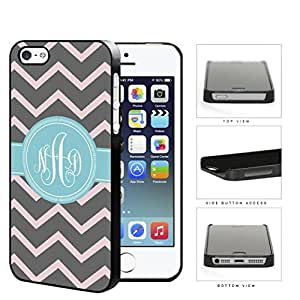 Gray And Pink Chevron With Light Blue Monogram (Custom Initials) Hard Plastic Snap On Cell Phone Case Apple iPhone 5 5s