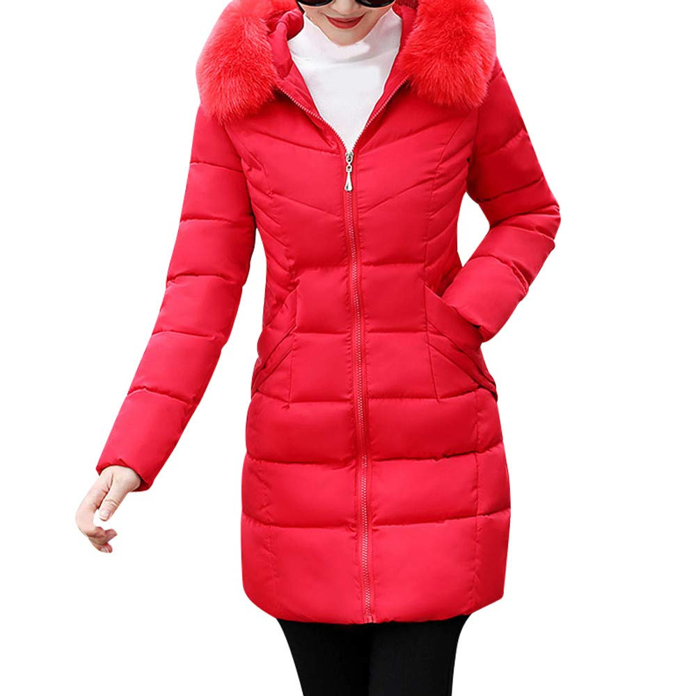 Dainzuy Ladies Sexy Casual Coat,Women Faux Fur Hooded Thick Warm Slim Jacket Long Overcoat for Winter