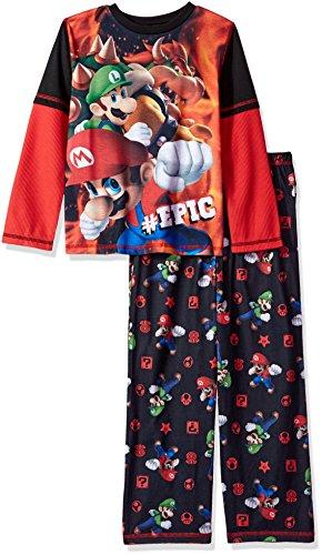 Komar Kids Big Boys' #Epic 2 Piece Jersey Sleep Set, Black, (Epic Bowser)