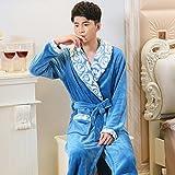 LJ&L Flannel Breathable Pajamas Thick Coral Velvet Comfortable Sleepwraps Couples Fashion Bathrobes Loose Pajamas,Men blue,XL