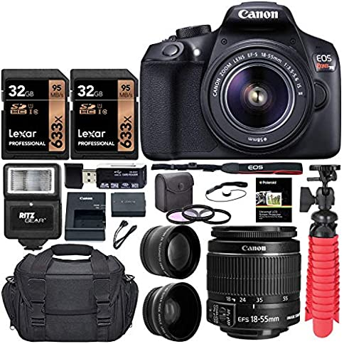 - 513YWTrNniL - Canon EOS Rebel T6 Digital SLR Camera Kit with EF-S 18-55mm f/3.5 Lens, Two Lexar 32GB U3 Memory Cards, Lens Filters, Camera Bag, Flexi-Tripod, and Accessory Bundle