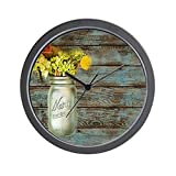 Cheap CafePress – Mason Jar Floral Barn Wood Western Country Wall Cl – Unique Decorative 10″ Wall Clock